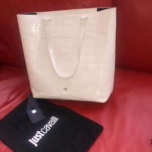 Cavalli white brand new bag with gold ,tag on.